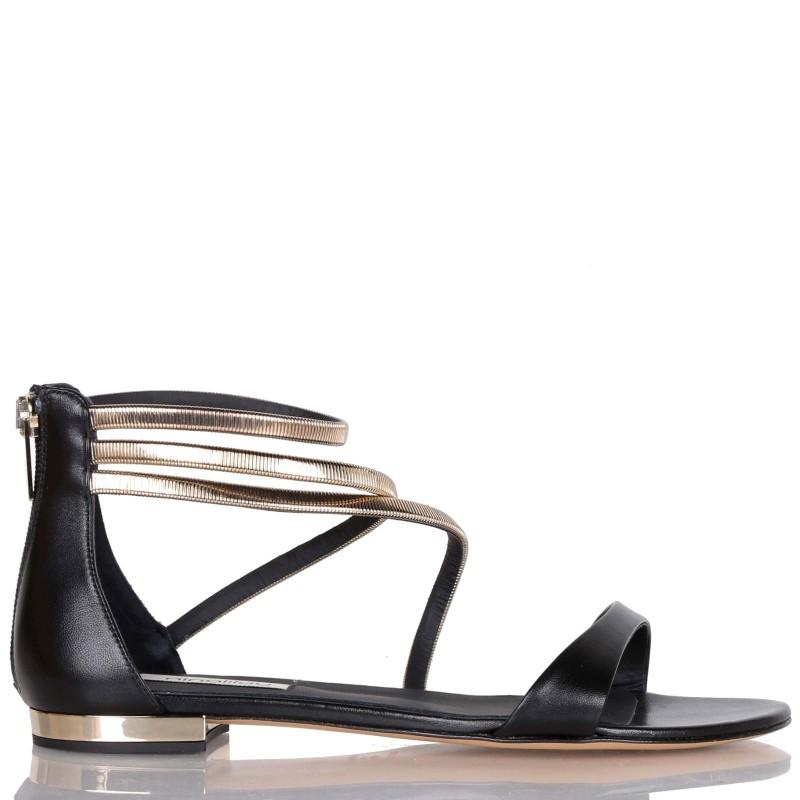 Sandalo basso in pelle con accessorio in metallo Ninalilou
