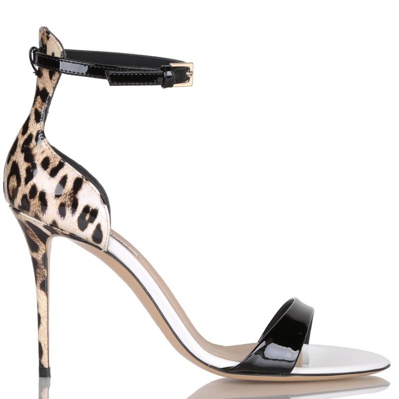 Sandalo in vernice con dettagli in stampa animalier Ninalilou