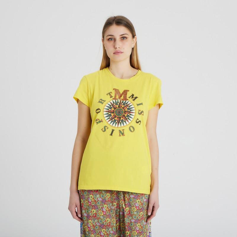 T-shirt girocollo manica corta con logo e stampa centrale M Missoni