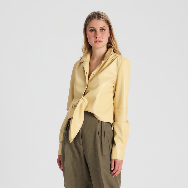 Camicia con fiocco in ecopelle Erika Cavallini