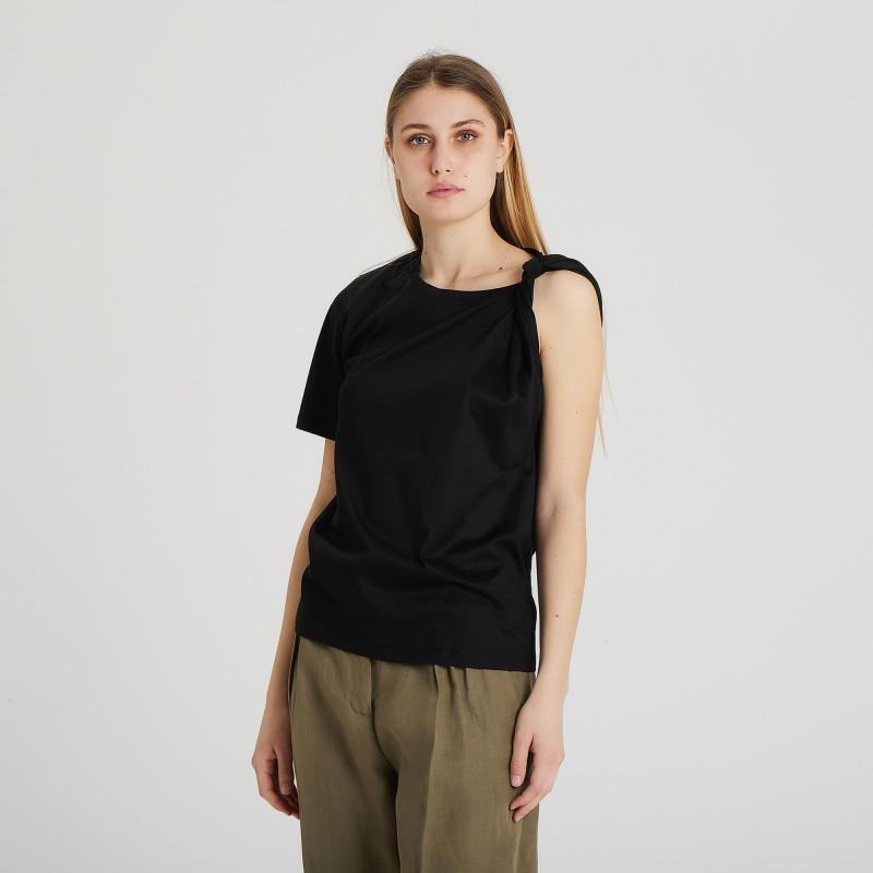 T-shirt in cotone con nodo Erika Cavallini