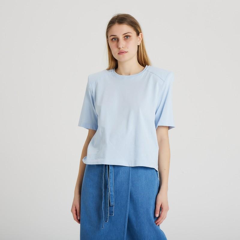 T-shirt in cotone manica corta con spalla imbottita Federica Tosi