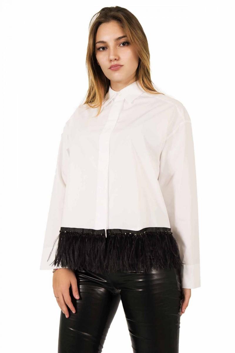 Camicia in cotone con rifinitura in piume e swarovsky Giorgio Grati