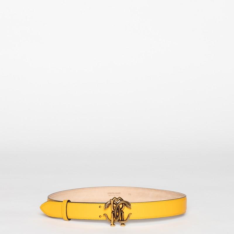 Cintura con logo in metallo oro invecchiato Roberto Cavalli