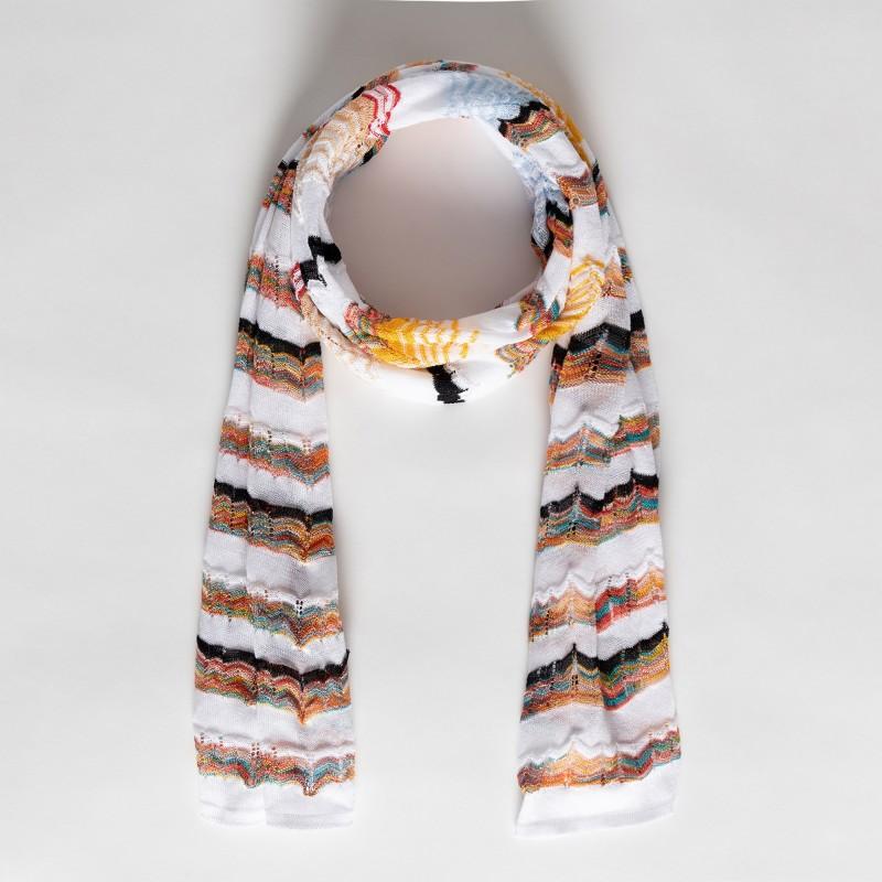 Sciarpa in filo di cotone e viscosa stampa zig zag multicolor Missoni