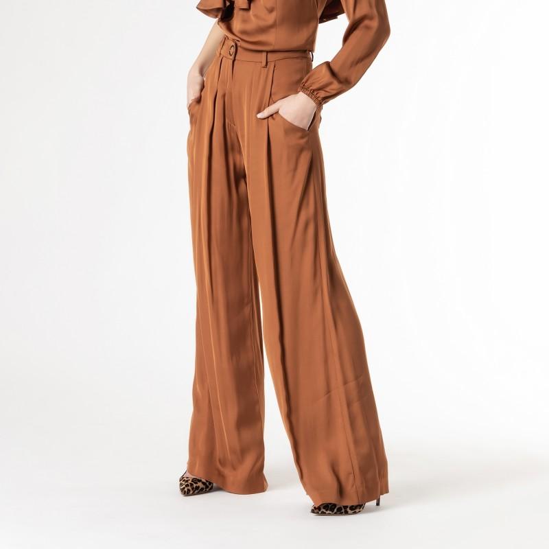 Pantalone a palazzo in viscosa lucida Cavalli Class