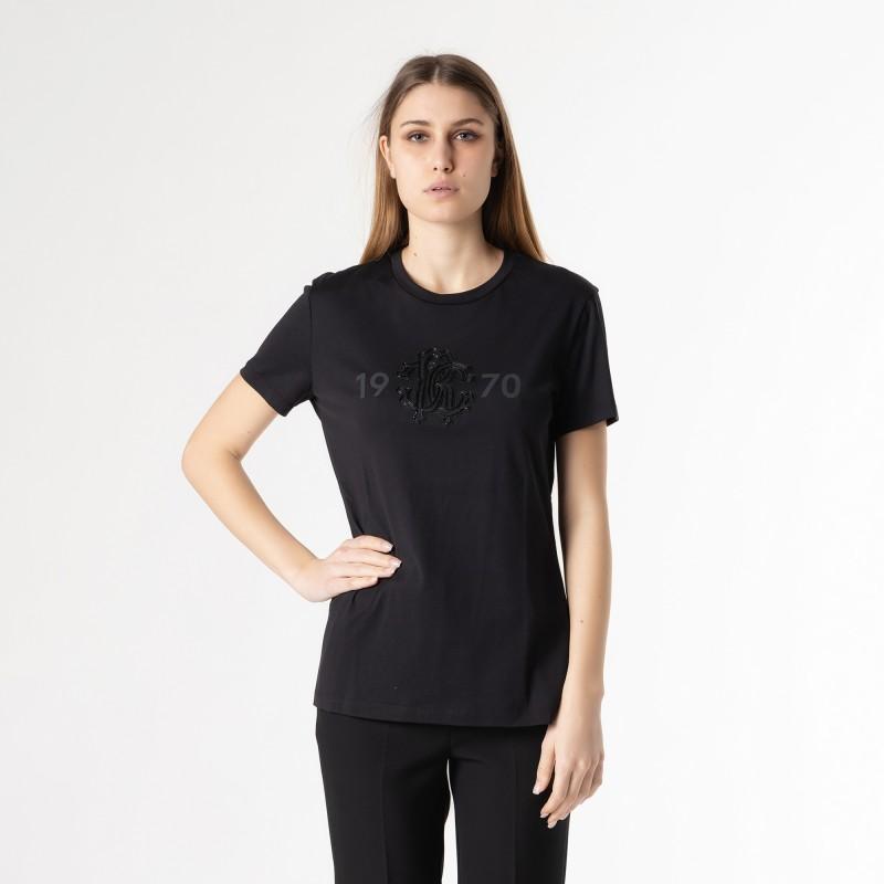 T-shirt manica corta con logo cristalli Roberto Cavalli