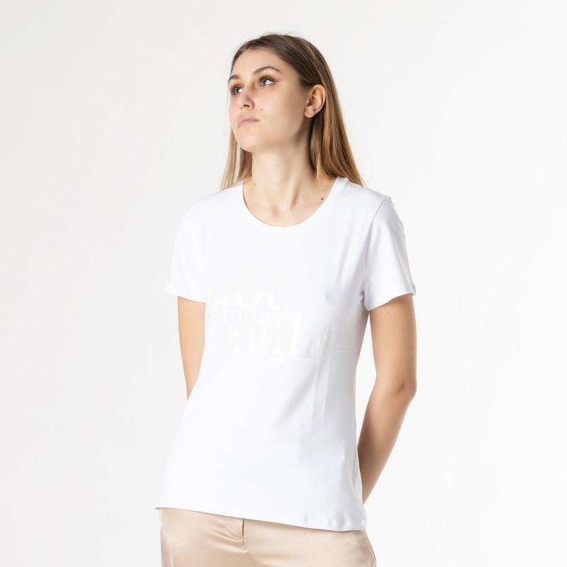 T-shirt con scritte argento satinato Atos Lombardini