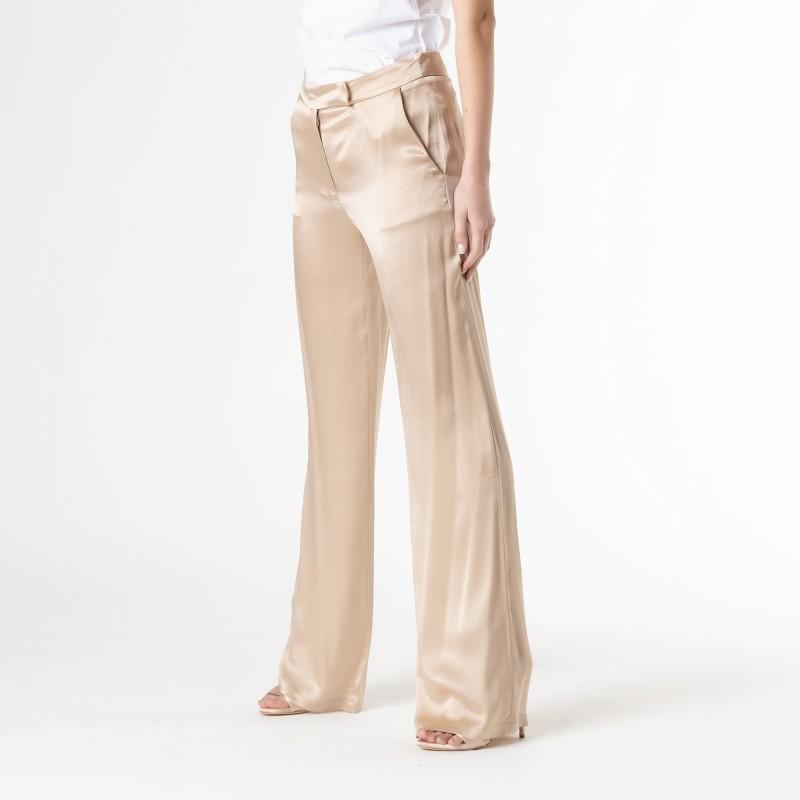 Pantalone largo in raso misto seta Atos Lombardini