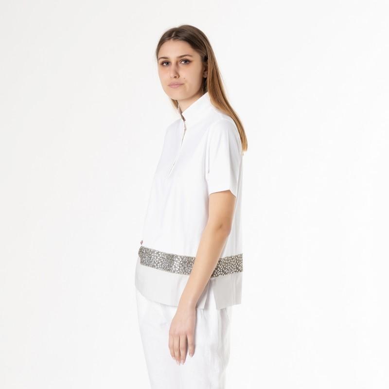 Polo in viscosa elasticizzata con fascia in seta e applicazione in paillettes e filo metallico Le Tricot Perugia