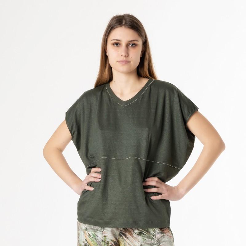 T-shirt in lino elasticizzato con dettaglio in catena metallo argento Le Tricot Perugia