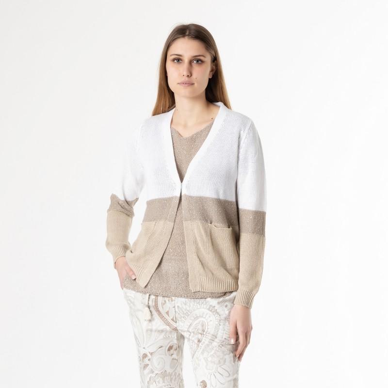 Cardigan in filo di cotone a righe con paillettes Le Tricot Perugia