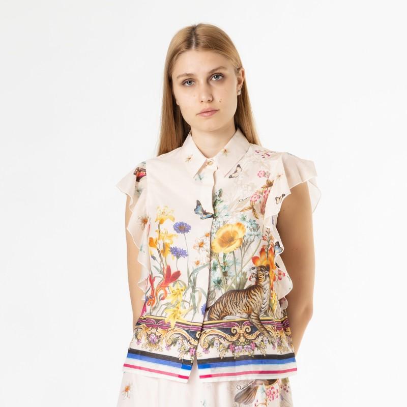 Camicia in voile di cotone stampa secret garden Cavalli Class