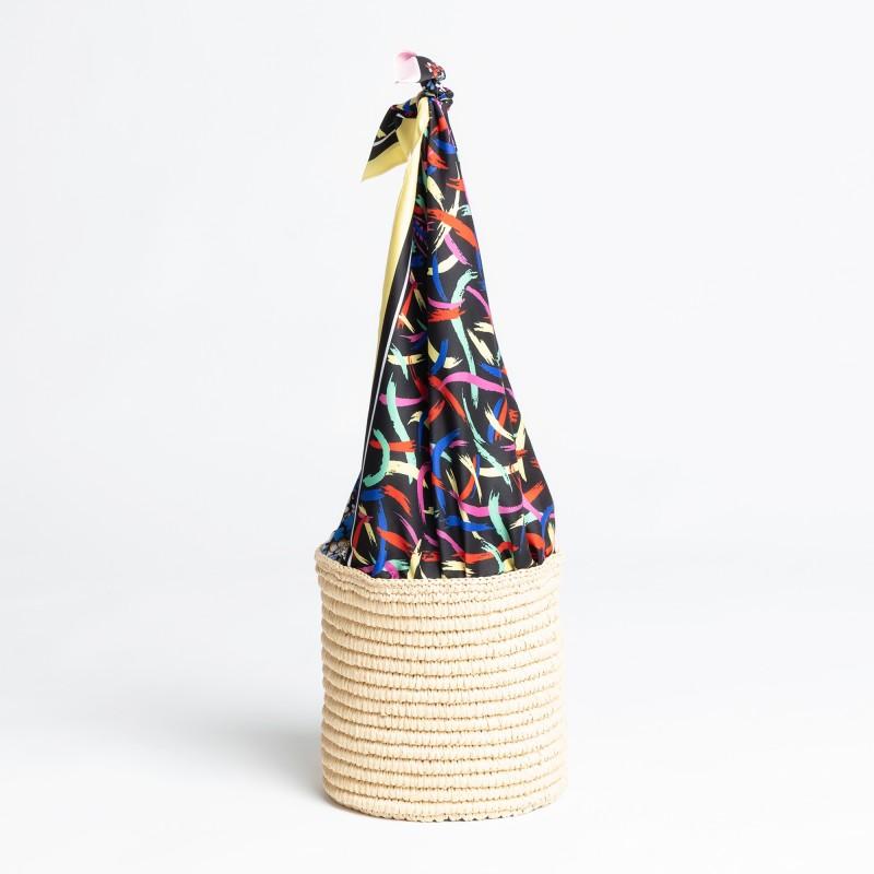 Secchiello in corda e manici in tessuto stampato MMissoni