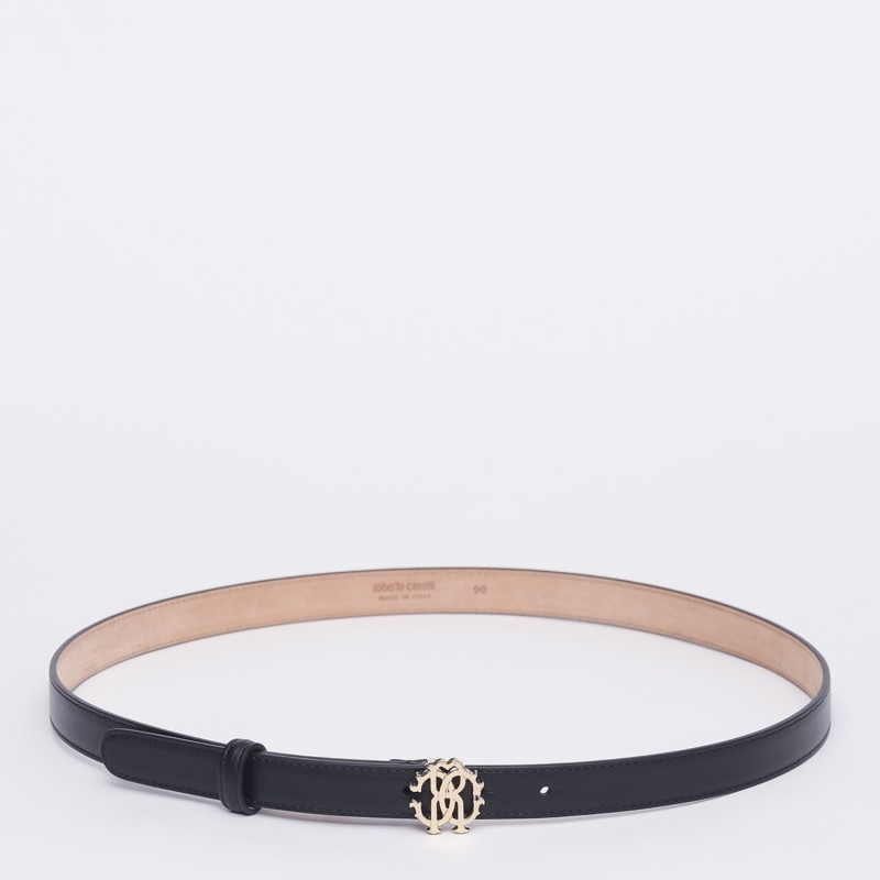 Cintura sottile con chiusura con logo oro Roberto Cavalli