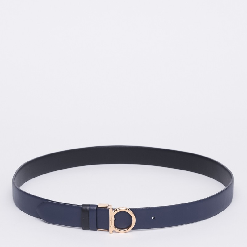 Cintura bicolore con fibbia gancio semplice Salvatore Ferragamo