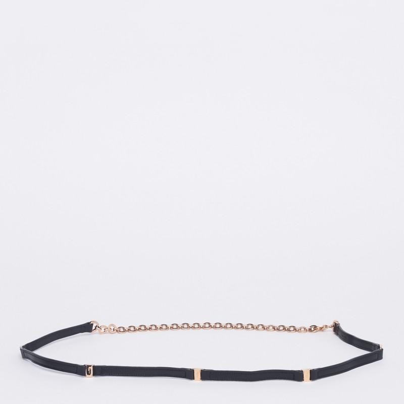 Cintura con catena e aggancio con moschettone metallo oro