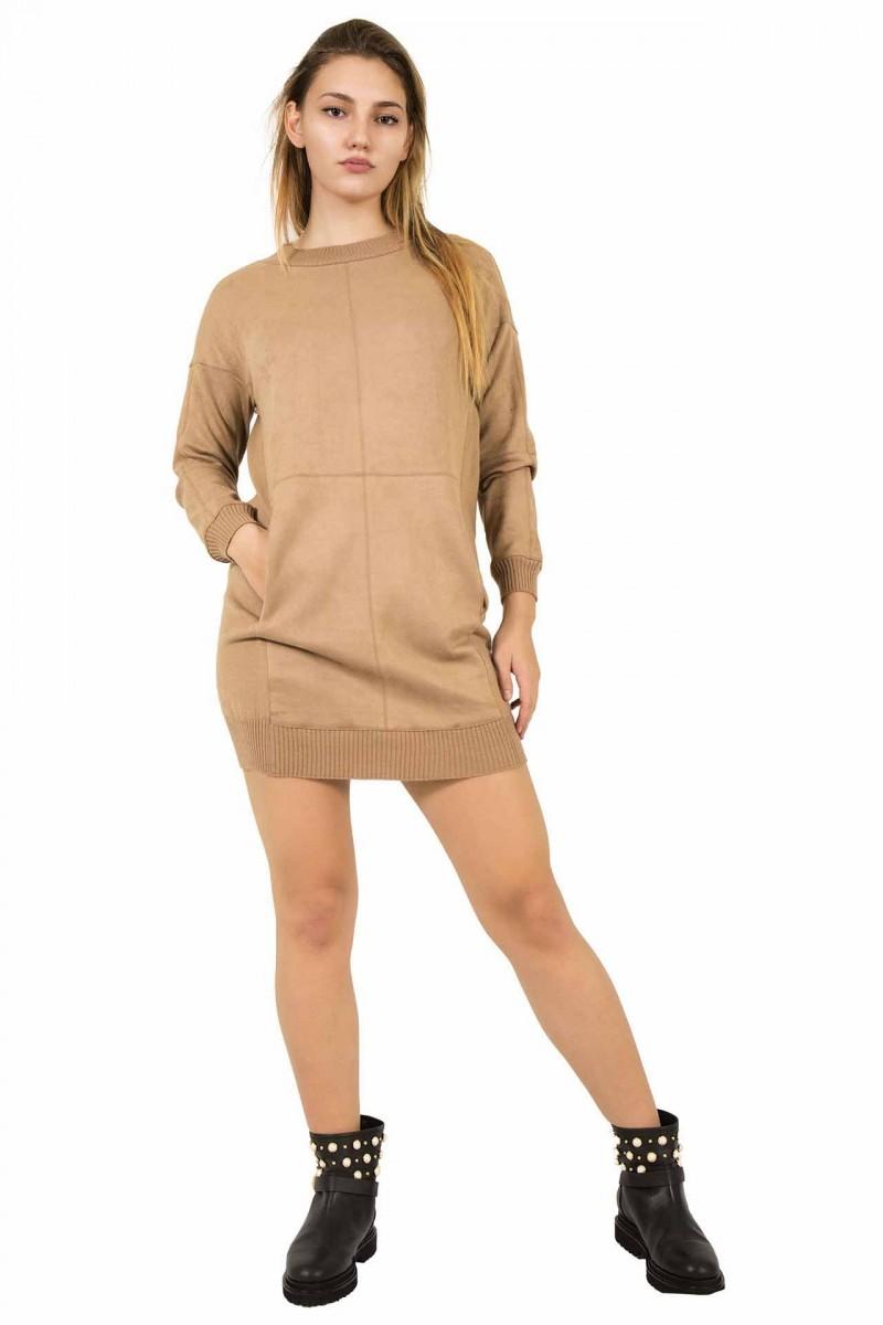 Mini abito effetto suede Le Tricot Chic