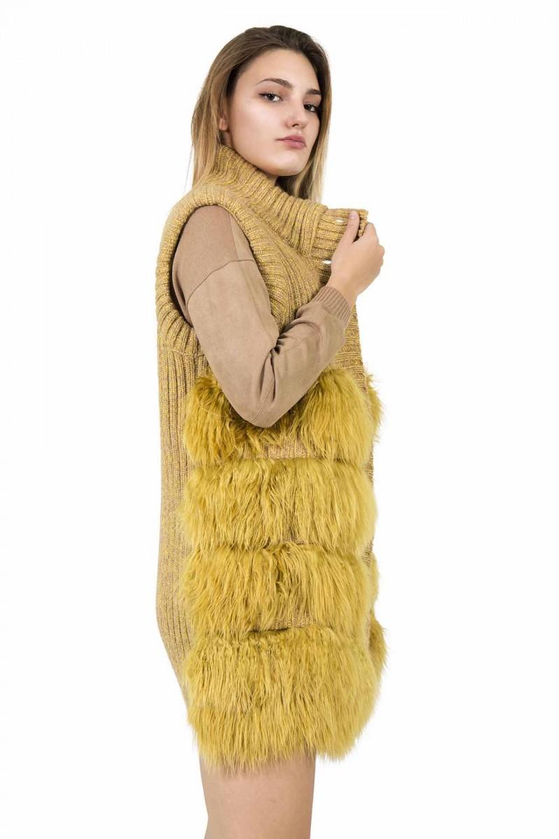 Gilet lavorazione a coste e pelliccia Le Tricot Chic